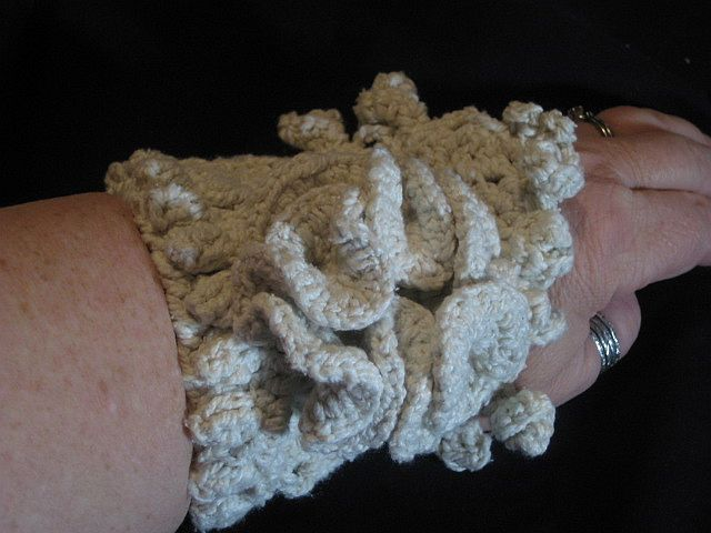 Crocheted Silk Cotton Bracelet- side view point down